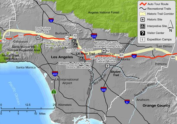Juan Bautista De Anza National Historic Trail Guide Los Angeles - Los angeles river map
